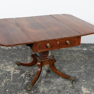 19th C. English Inlaid Mahogany Regency Sofa Table
