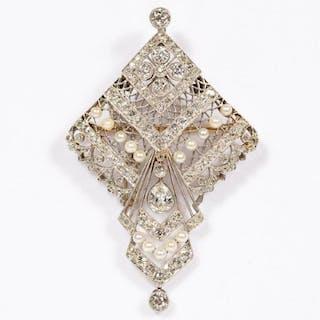 C. 1910 Edwardian Diamond & Pearl Converter GIA