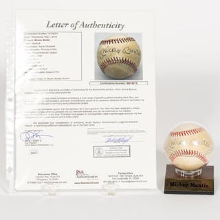 Mickey Mantle Autographed Baseball, JSA Auth.