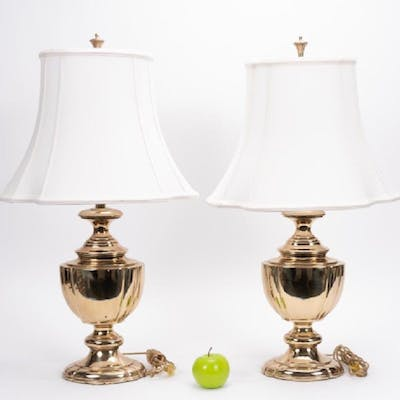 Pair, Rembrandt Brass Table Lamps w/ Shades