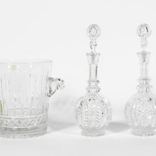 Three Crystal Decanters and Large Ice Bucket
