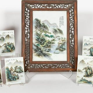 Eight, Chinese Landscape Motif Porcelain Plaques