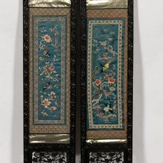 Pair of Chinese Embroidery Panels with Bird Motif