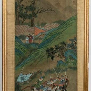 Chinese Painting on Silk of Warrior & Battle Scene