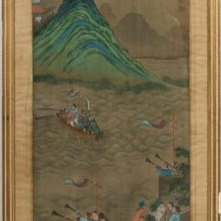 Chinese Painting on Silk, Figural and Shore Scene