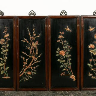 4 Wooden Chinese Panels of 4 Seasons, Hardstone