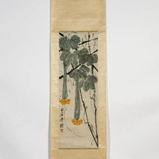 Chinese Hanging Scroll Floral Motif, Inscribed