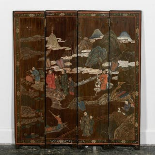Small Chinese Wooden Four Panel Table Top Screen