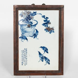 Chinese Porcelain Plaque with Floral & Bird Motif