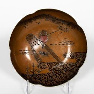 Signed Japanese Fisherman Motif Rice Bowl