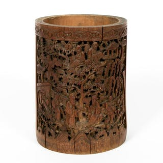 Chinese Deep Relief Carved Wood Brush Pot