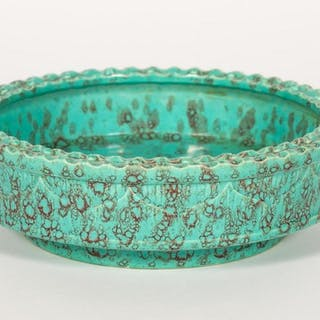 Chinese Aqua Blue & Red Accented Porcelain Bowl