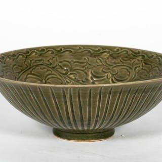 Chinese Celadon Glazed Foliate Motif Charger