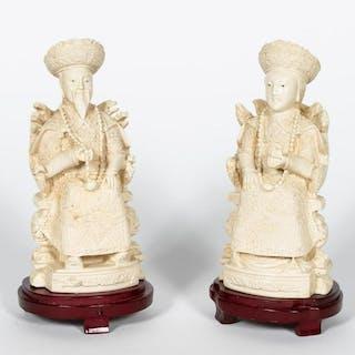 Pr., Bone Emperor and Empress Figures on Stands