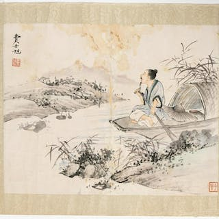 "Fei Danxu ""Man in Rowboat"" Watercolor Table Scroll"