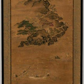 Framed Chinese Scroll Landscape Scene, Signed