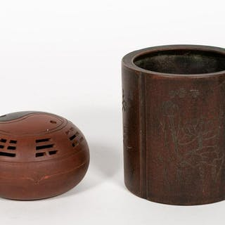 Two Chinese Pieces, Incense Burner and Brush Pot