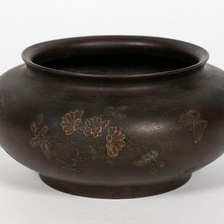 Chinese Floral and Butterfly Motif Ceramic Bowl