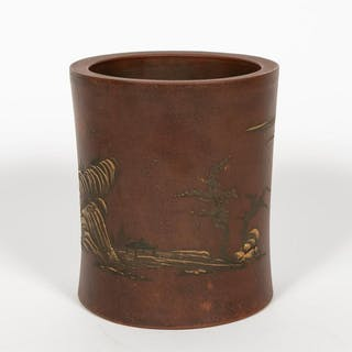 Chinese Ceramic Brush Pot with Landscape Scene