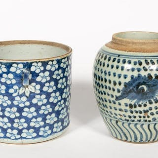 Two Chinese Blue & White Porcelain Vessels