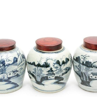 Three Chinese Export Blue & White Ginger Jars