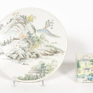 Two Chinese Porcelain Landscape Items