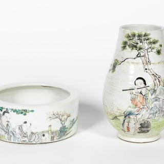 Two Chinese Porcelain Figural Motif Vessels
