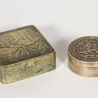 Two Chinese Lidded Boxes in Bronze and Silver