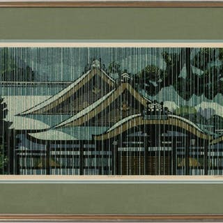 "Clifton Karhu ""Gosho Rain"" Signed Woodblock Print"