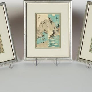 "Three, Hiroshige ""Souvenirs Of Edo"" Woodblocks"