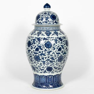 Chinese Blue & White Lidded Temple Jar