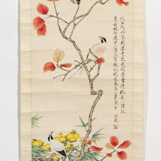 Chinese Hanging Scroll with Bird Motif, Inscribed