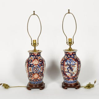 Pair of Japanese Vasiform Imari Table Lamps