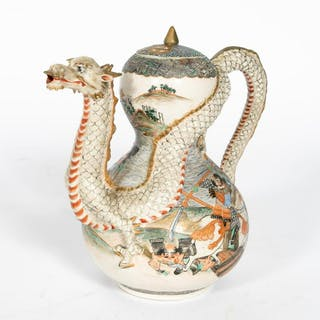 Japanese Satsuma Lidded Dragon Teapot