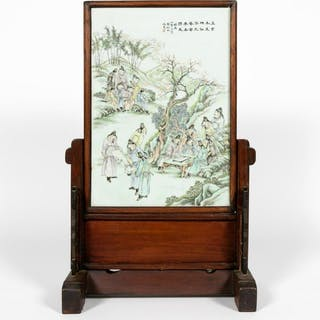 Chinese Figural Porcelain Table Screen, Inscribed