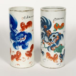 Chinese, Two Porcelain Hat Stands, Guardian Lion