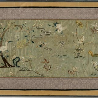 Framed Chinese Embroidery Panel, Crane Motif