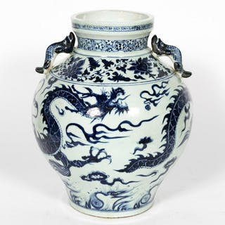 Chinese Blue & White Dragon Motif Porcelain Vase