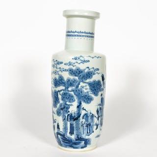 Chinese Blue & White Landscape Motif Rouleau Vase