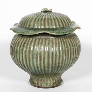 Chinese Lidded Celadon Glazed Jar