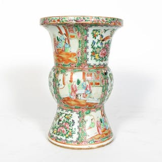 Chinese Rose Medallion Gu Vase