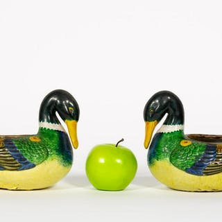 Pair, Chinese Polychrome Hanging Duck Planters
