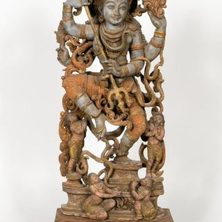 Carved Wooden Figural Sculpture of Vishnu