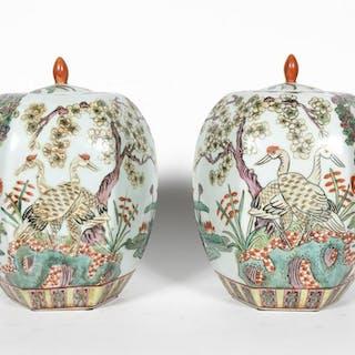 Pair, Chinese Hexagonal Lidded Urns