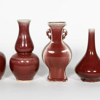 Group of Seven Chinese Oxblood Porcelain Vases