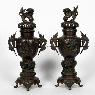 Pair, Japanese Bronze Lidded Guardian Lion Censers