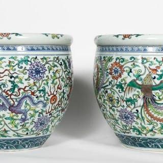 Pair, Chinese Polychrome Ducai Porcelain Planters