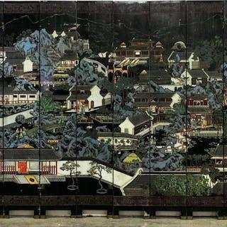 Chinese Twelve Panel Coromandel Floor Screen