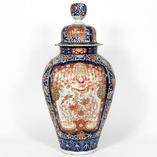 Large Imari Lidded Porcelain Floor Temple Jar
