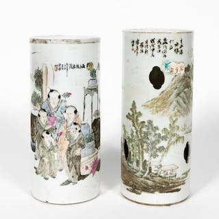 Two, Chinese Round Porcelain Hat Stands